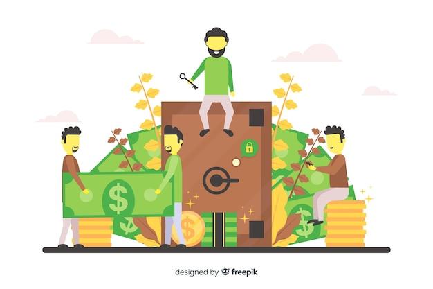 Poupar dinheiro conceito fundo