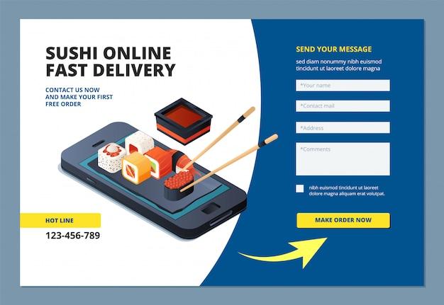 Pouso de comida. sushi frutos do mar restaurante on-line menu ordem site formulário layout modelo de aplicativo móvel