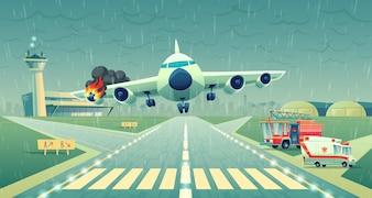 Pouso de mayday do avião em uma faixa perto do terminal. Bater de voo em mau tempo, asa