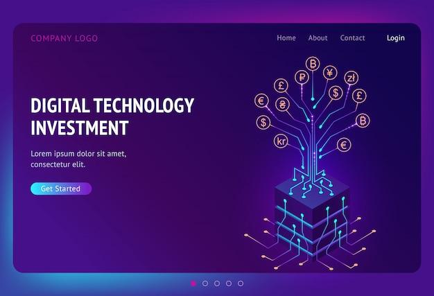 Pouso isométrico de investimento em tecnologia digital