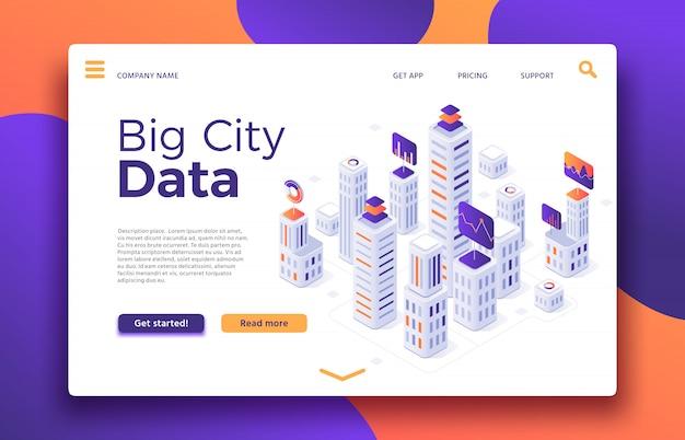 Pouso na cidade inteligente. classificação de edifício de escritórios, agência imobiliária ou ilustração isométrica de propriedade de aluguel de edifícios