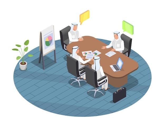 Povo árabe em reunião de negócios no escritório 3d isométrico