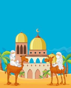 Povo árabe no deserto da mesquita