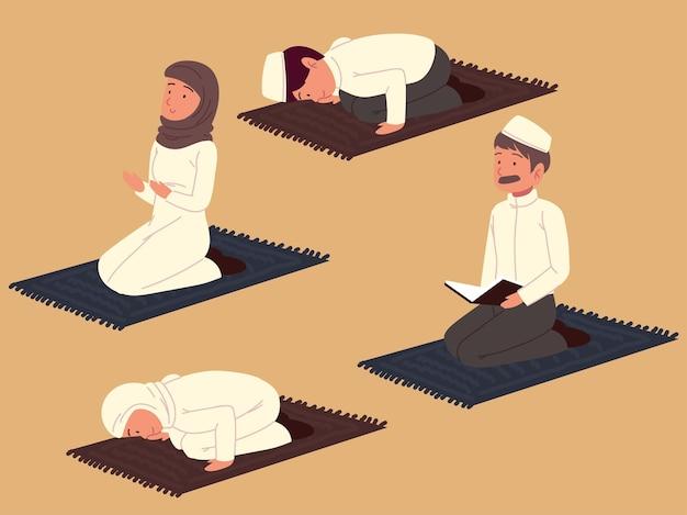Povo árabe orando no tapete