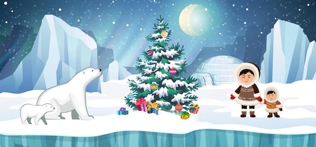 Povo do ártico em trajes tradicionais de esquimós e ursos polares com árvore de natal. iglu, geleira e aurora boreal em segundo plano. ilustração do vetor de férias de natal.