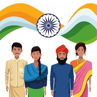 Povo étnico indiano com emblemas de bandeira e roda