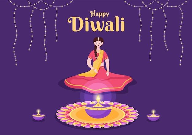 Povo indiano comemorando o dia de diwali segurando lanternas, iluminando fogos de artifício e mandala ou arte de rangoli com o fundo festival de luzes de ilustração vetorial