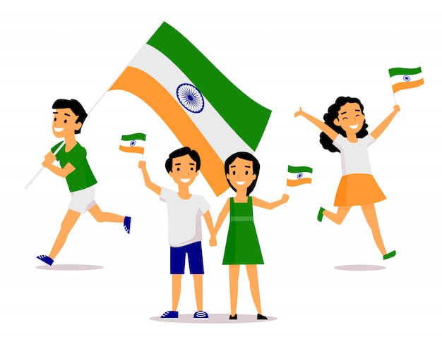Povo indiano segurando e agitando bandeiras tricolor