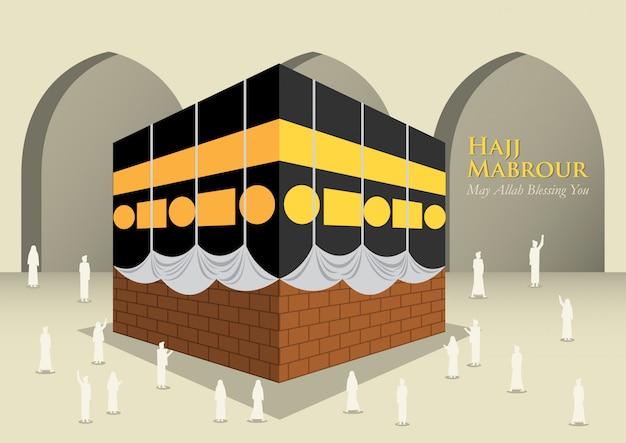 Povo muçulmano ao redor de kaaba