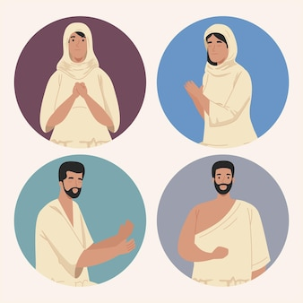 Povo muçulmano com pano tradicional