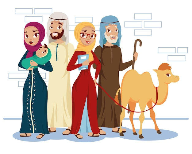 Povo muçulmano e camelo