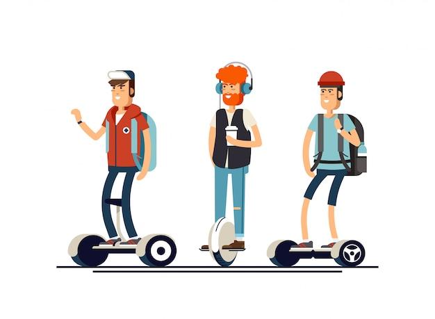 Povos ativos divertidos com scooter elétrica