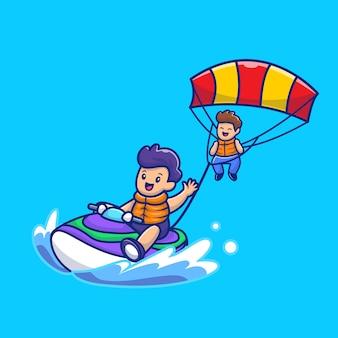 Povos bonitos que jogam o parapente com ilustração do ícone dos desenhos animados do barco a motor da velocidade. pessoas esporte ícone conceito isolado premium. estilo cartoon plana