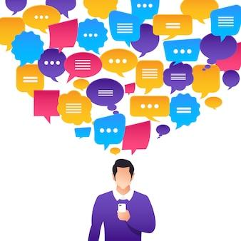 Povos do conceito de design plano falam com balão de mensagem.