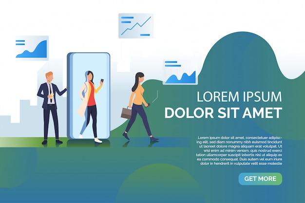 Povos e ilustração de apresentação do telefone móvel