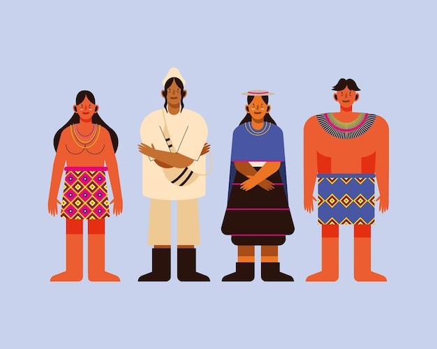 Povos indígenas com grupo de ícones de pano tradicional