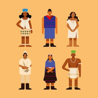 Povos indígenas e coleção de ícones de tecidos tradicionais