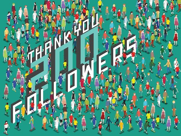 Povos isométricos com obrigado 200 seguidores texto