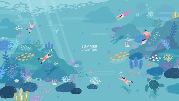 Povos mergulhando sob a ilustração do oceano.
