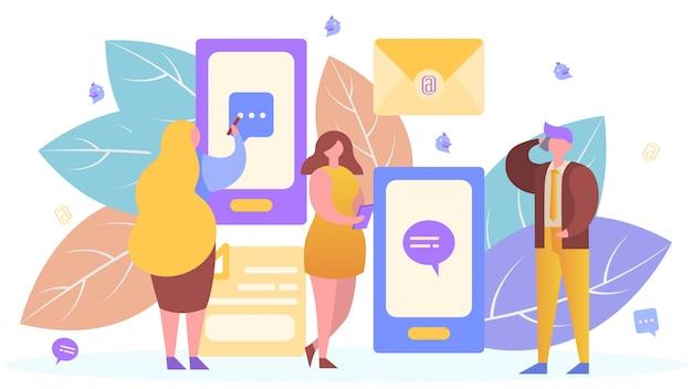 Povos na tecnologia de comunicação móvel do internet, ilustração. mensagem smartphone app, pessoa homem mulher on-line
