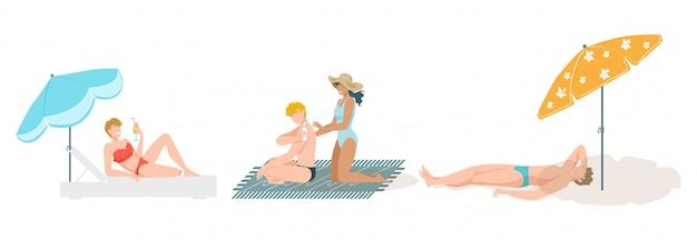 Povos no jogo do banho de sol da praia, férias de verão nos desenhos animados do mar isolados na ilustração branca.