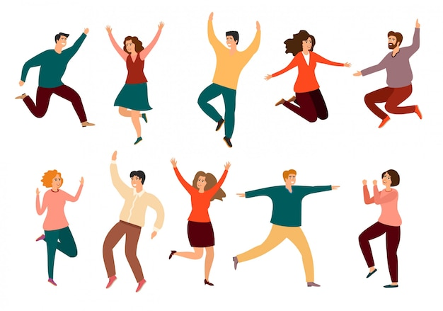 Povos novos da dança ou dançarinos masculinos e femininos isolados. jovens, homens e mulheres desfrutando de festa de dança. festa dançante.