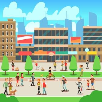 Povos que andam na rua da cidade com ilustração urbana da arquitectura da cidade.