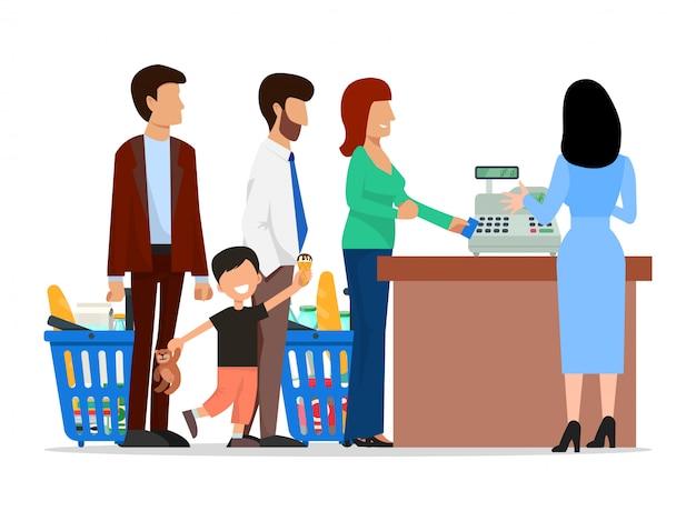Povos que estão na fila longa na ilustração do supermercado.