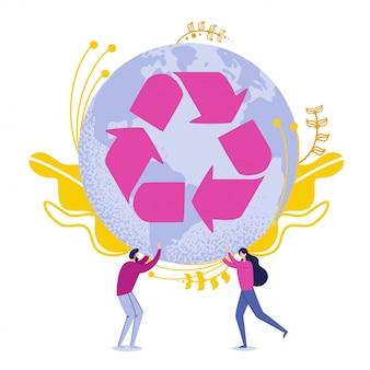 Povos que guardam o globo da terra com setas de reciclagem.