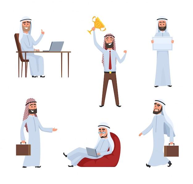 Povos sauditas no trabalho. personagens de desenhos animados árabe