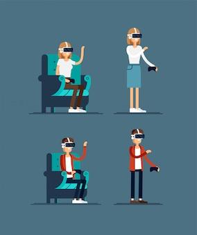 Povos usando conjunto de fone de ouvido de realidade virtual