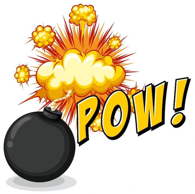 Pow da palavra com bomba explosiva