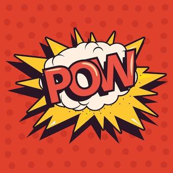 Pow explosão em quadrinhos pop art fundo