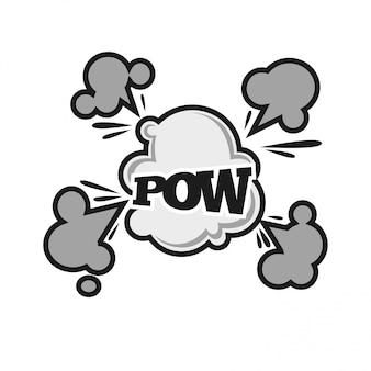 Pow som de bolha em quadrinhos balst nuvem ícone de texto plana de vetor dos desenhos animados