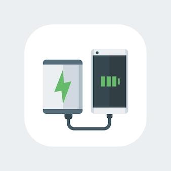 Power bank carregando ícone plano de smartphone, carregador portátil