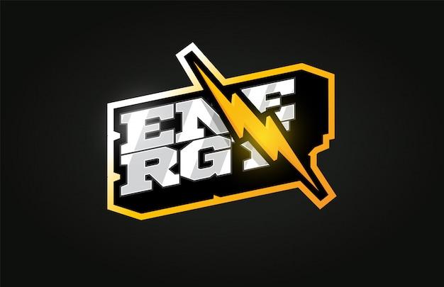 Power energy logotipo do esporte profissional moderno em estilo retro
