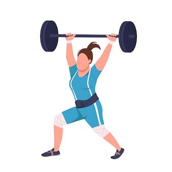 Powerlifter feminino levantando barra sem rosto cor plana personagem