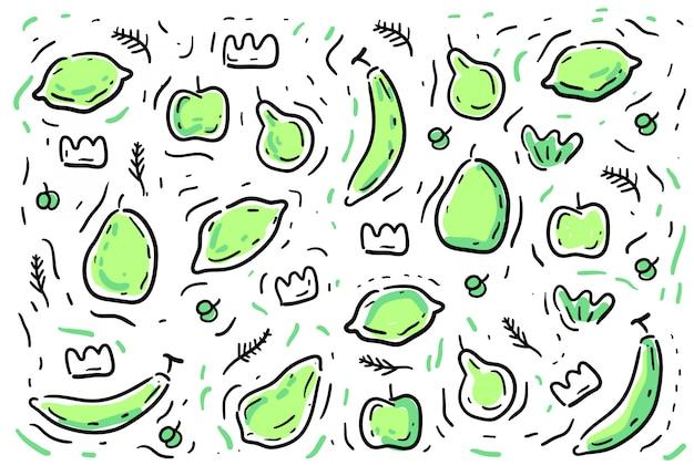 Ppattern de frutas estilo doodles
