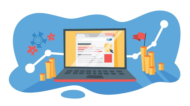 Ppc paga por clique em publicidade na internet. estratégia de marketing para promoção de negócios. pague pelo banner na página da web. ilustração