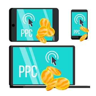 Ppc pay per click dispositivo e conjunto de moedas