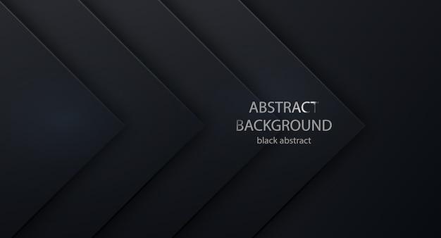 Praça de fundo preto para design de site de texto e mensagem. abstrato 3d com camadas de papel preto