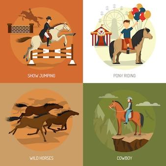 Praça de ícones de conceito de raças de cavalo