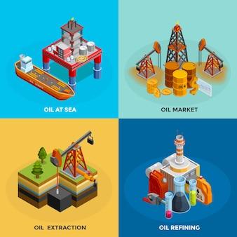 Praça de ícones isométrica de indústria de petróleo