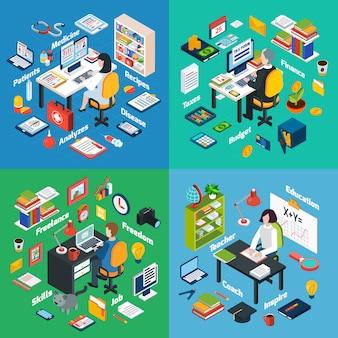 Praça de ícones isométrica profissional no local de trabalho