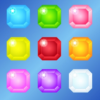 Praça de jóias 9 cores para 3 jogos de partida.