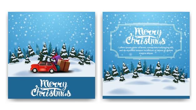 Praça de natal postal de dois lados com paisagem de inverno dos desenhos animados