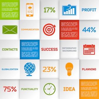 Praças de infográfico de negócios