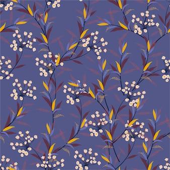 Prado bonito teste padrão floral na flor pequena. textura sem costura padrão.