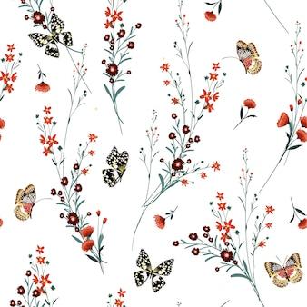 Prado flores com padrão sem emenda de borboletas