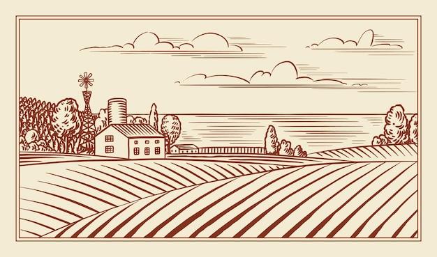 Prado rural. uma paisagem de aldeia com colinas e uma fazenda. ensolarado vista panorâmica do país. desenhado à mão